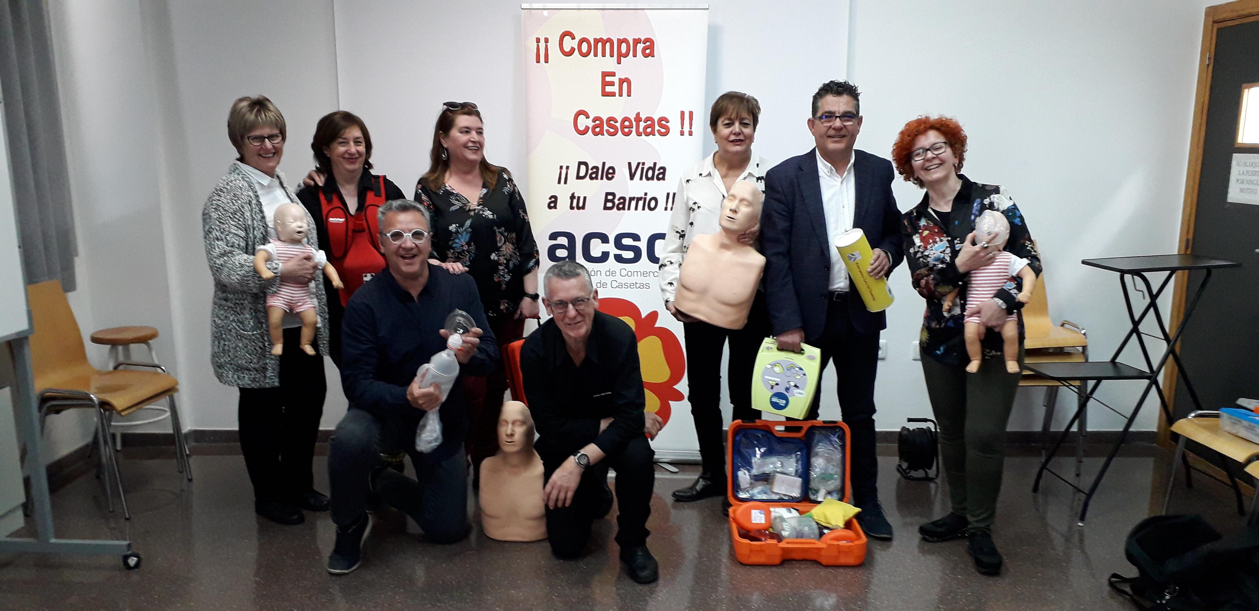 CURSO INICIAL DE RCP+DESA IMPARTIDO EN ASOCIACIÓN DE COMERCIOS DE CASETAS (ZARAGOZA)