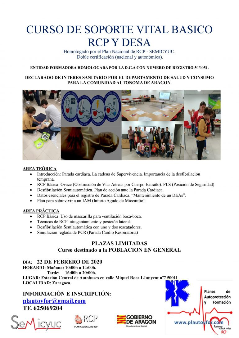 CARTEL CURSO DE SOPORTE VITAL BASICO RCP Y DESA 22.02.2020