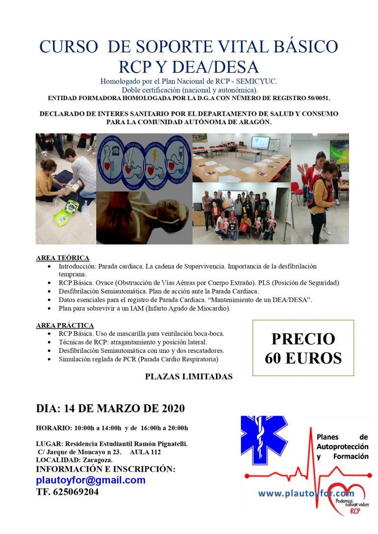 14/03/2020.CURSO DE SOPORTE VITAL BASICO RCP Y DESA. RECICLAJE